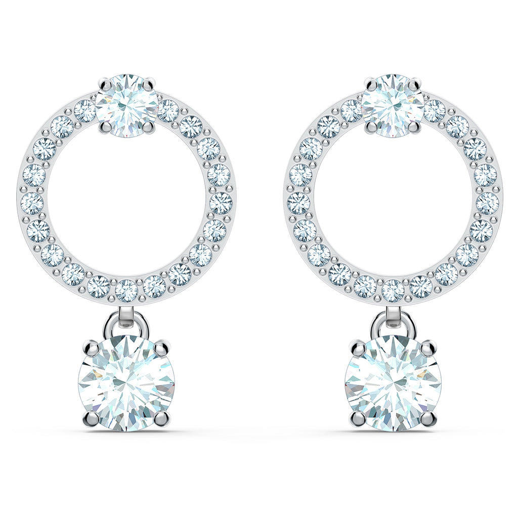 Swarovski Attract Circle Pierced Earrings - White - Rhodium Plated