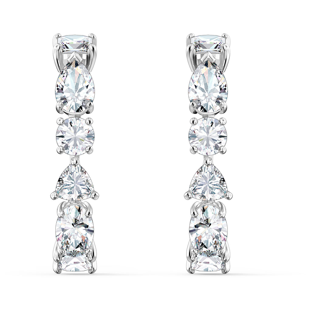 Swarovski Tennis Deluxe Mixed Pierced Earrings - White - Rhodium Plated