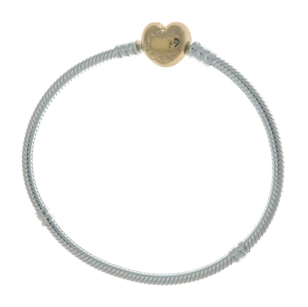 PANDORA Moments 925 Sterling Silver Bracelet with 18k Gold Plated PANDORA Shine Heart Clasp - 17cm