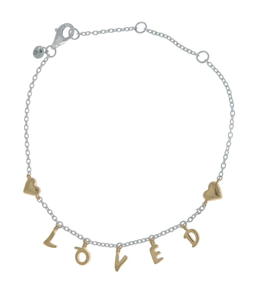 PANDORA Loved Script 925 Sterling Silver Bracelet with 18k Gold Plated PANDORA Shine Letters - 20cm