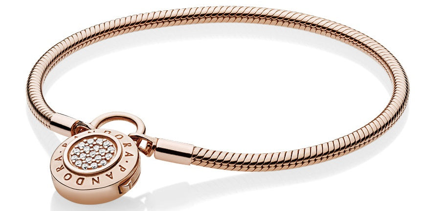PANDORA Smooth Rose Signature Padlock Bracelet 18 -
