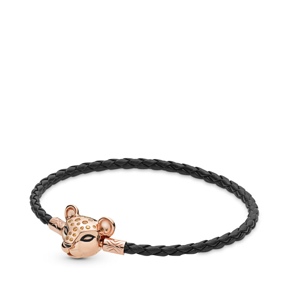 Pandora Sparkling Lion Princess Woven Leather Bracelet - Pandora Rose - 6.9