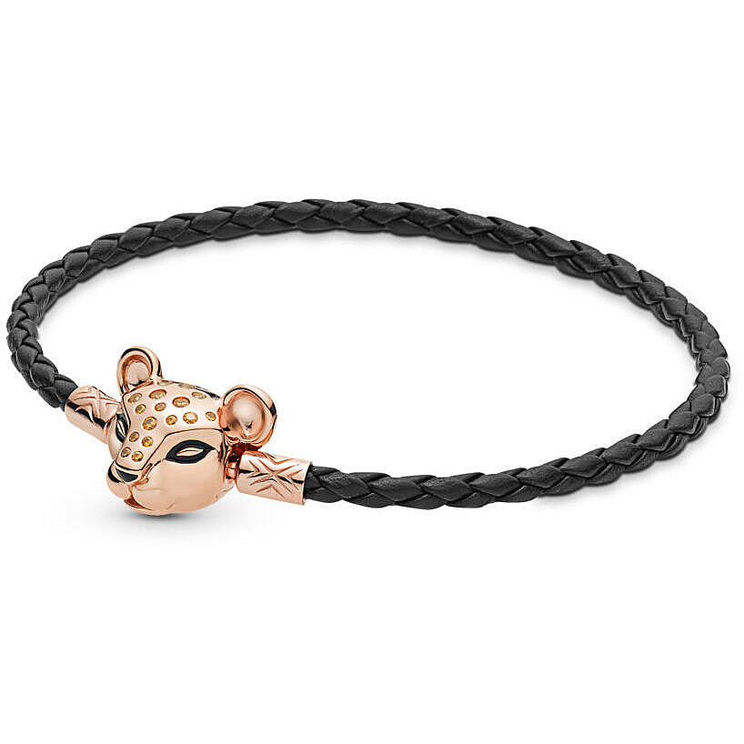 Pandora Sparkling Lion Princess Woven Leather Bracelet - Pandora Rose - 7.5
