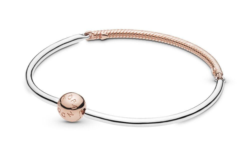 PANDORA Moments Three-Link Pandora Rose Bangle Bracelet 21 -