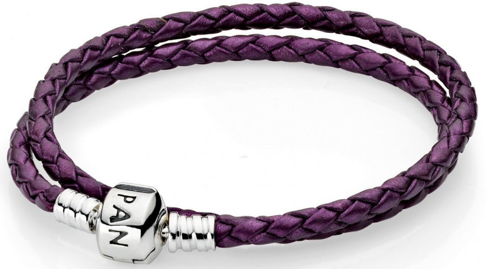 PANDORA Purple Braided Double-Leather Charm Bracelet -
