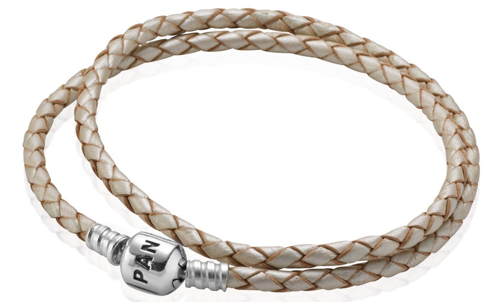 PANDORA Champagne Braided Double-Leather Charm Bracelet -