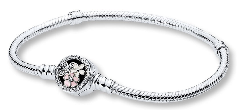 Pandora Moments Silver Bracelet with Poetic Blooms Clasp - 16 cm -