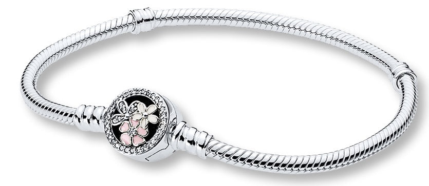Pandora Moments Silver Bracelet with Poetic Blooms Clasp - 17 cm -