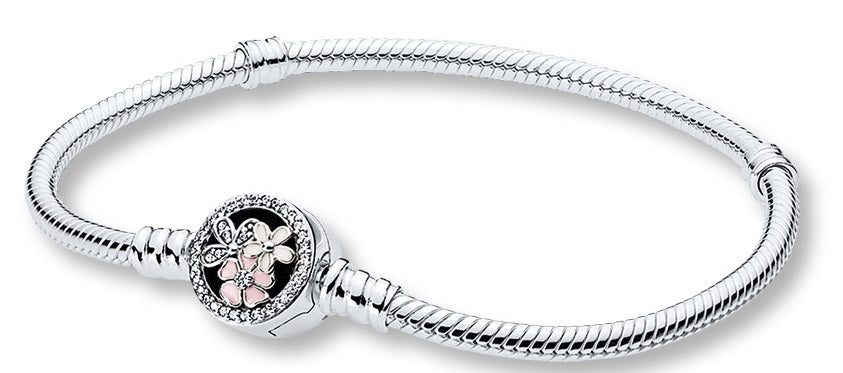 Pandora Moments Silver Bracelet with Poetic Blooms Clasp - 21 cm -
