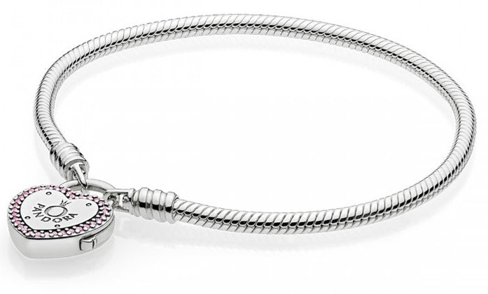 Pandora Lock Your Promise Bracelet - Fancy Fuchsia Pink & Clear CZ -