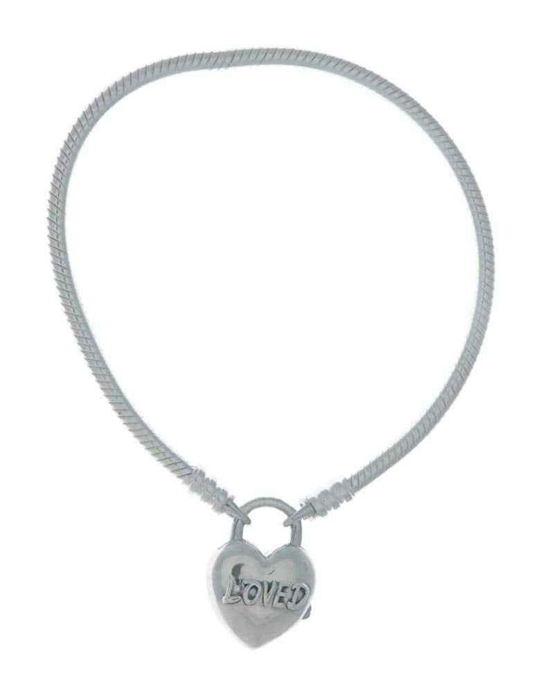 PANDORA Moments Smooth Silver Padlock Bracelet - You Are Loved Heart 925 Sterling Silver - 21cm