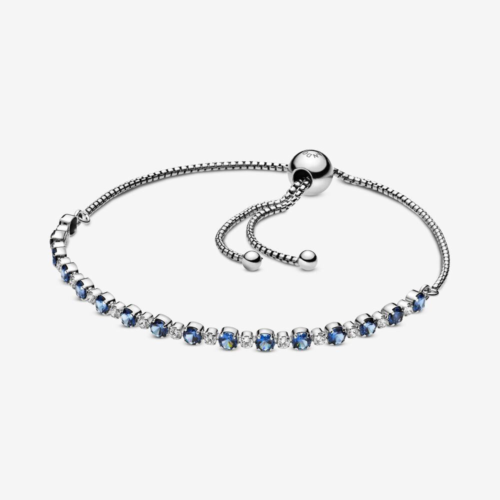 Pandora Blue and Clear Sparkle Slider Bracelet 23 cm