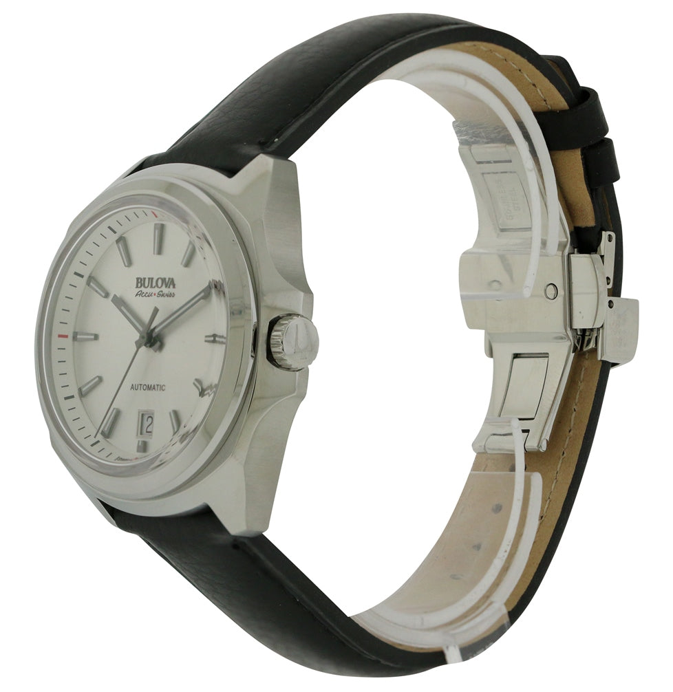 Bulova AccuSwiss Telc Automatic Leather Mens Watch