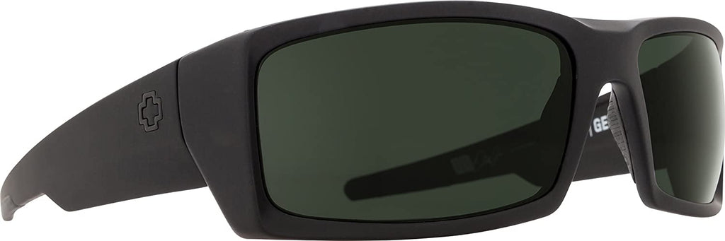 Spy Optic Mens General Rectangular Sunglasses - Soft Matte Black/Happy Gray/Green - 60 mm