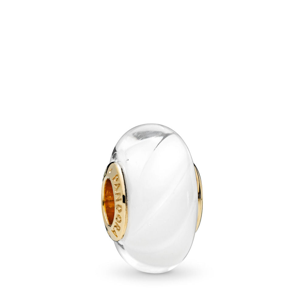 PANDORA White Waves Charm & Murano Glass