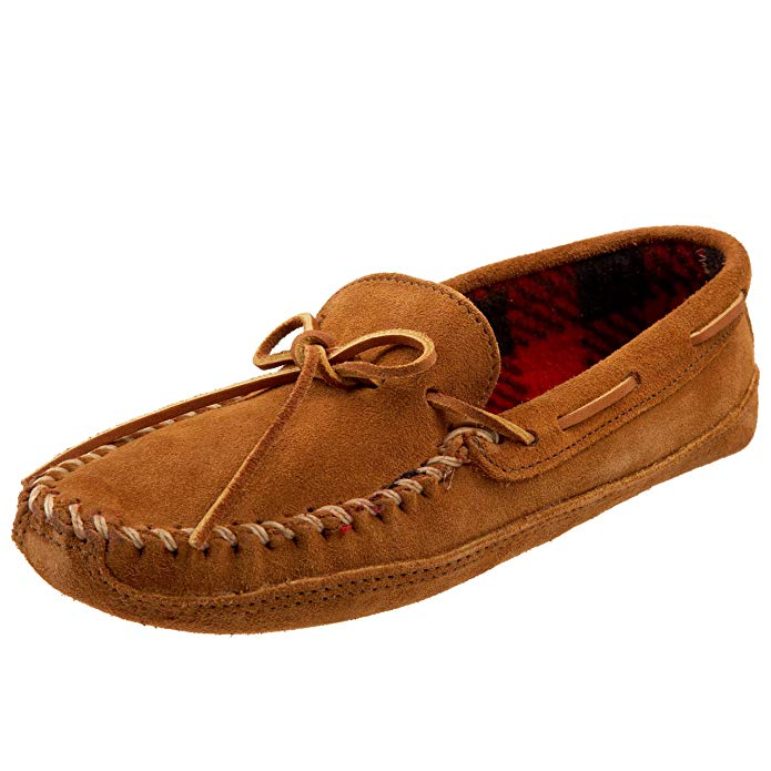 Minnetonka Mens Double Bottom Fleece Moccasin Slipper - Brown - Size 8