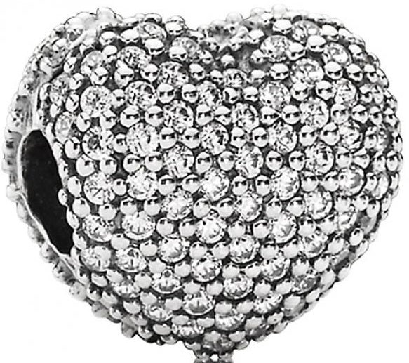 PANDORA Pave Open My Heart Clip - Clear CZ -