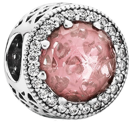 PANDORA Radiant Hearts Charm - Blush Pink Crystal & Clear CZ -