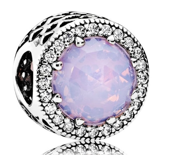 Pandora Opalescent Pink Radiant Hearts Charm -