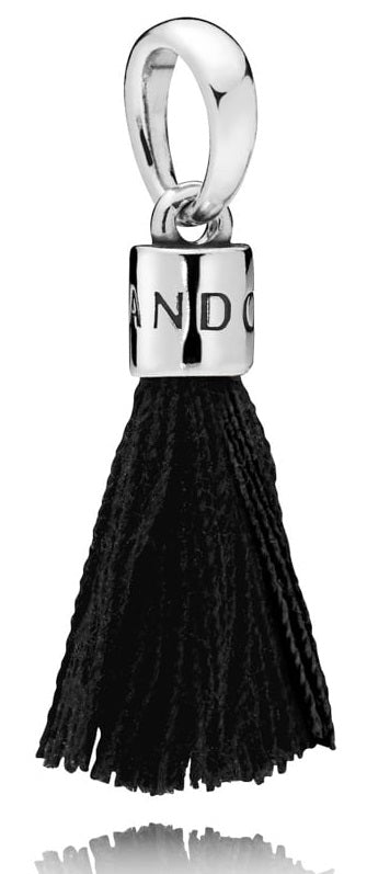 PANDORA Black Fabric Tassel Dangle Charm -