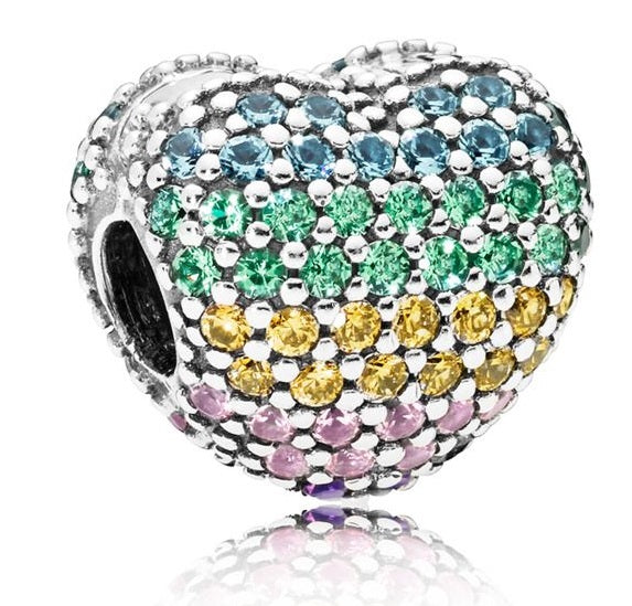 PANDORA Multi-colour Pave Open My Heart Charm -
