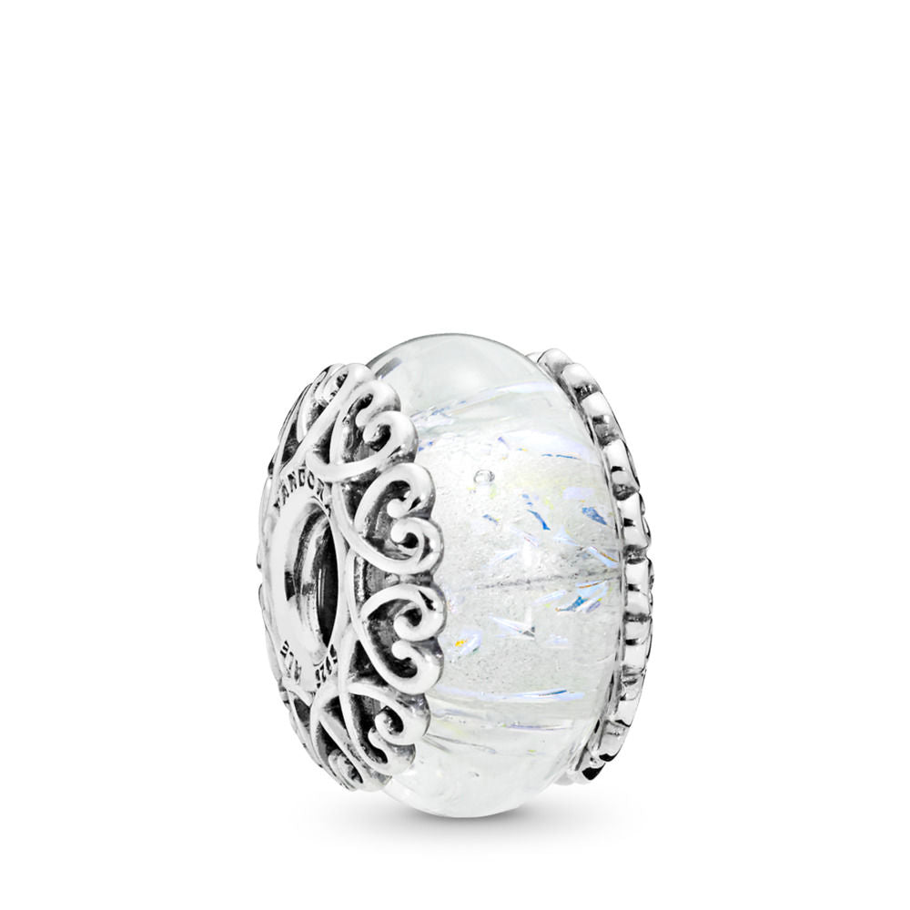 PANDORA Iridescent White Glass Charm -