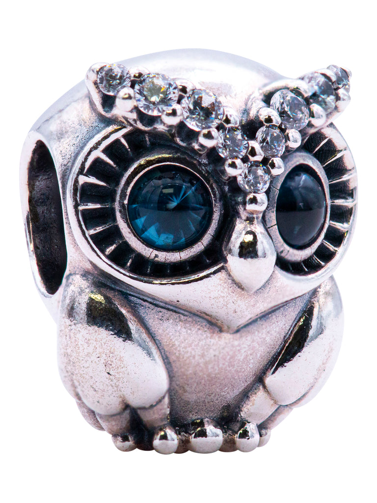 PANDORA Owl Sterling Silver Charm With Bright Cobalt Blue Crystal -