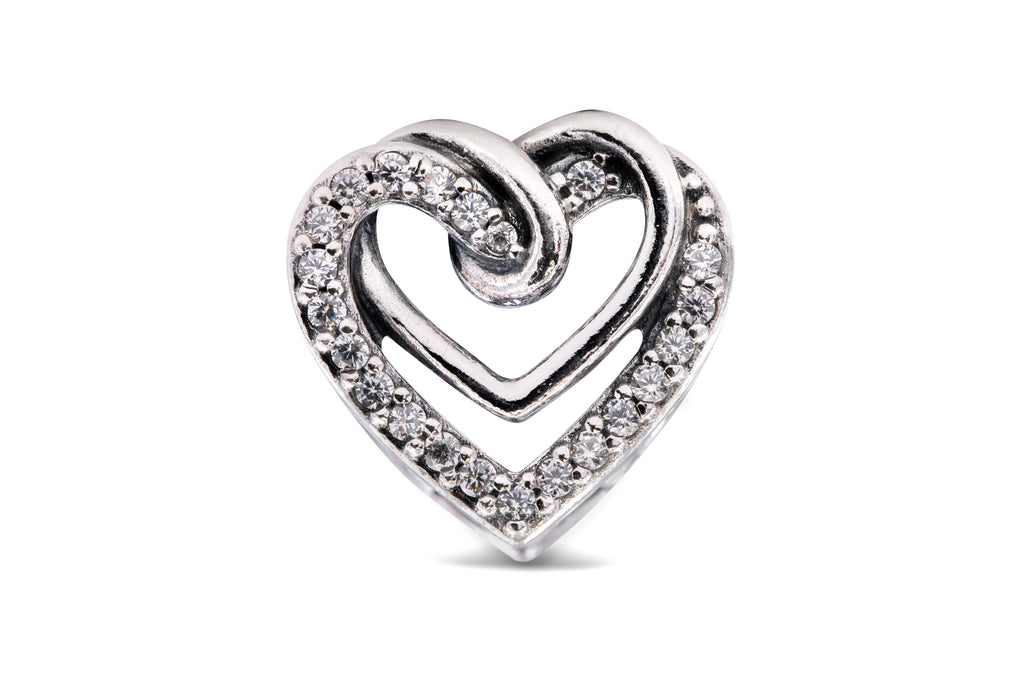Pandora People Sparkling Entwined Hearts Charm -