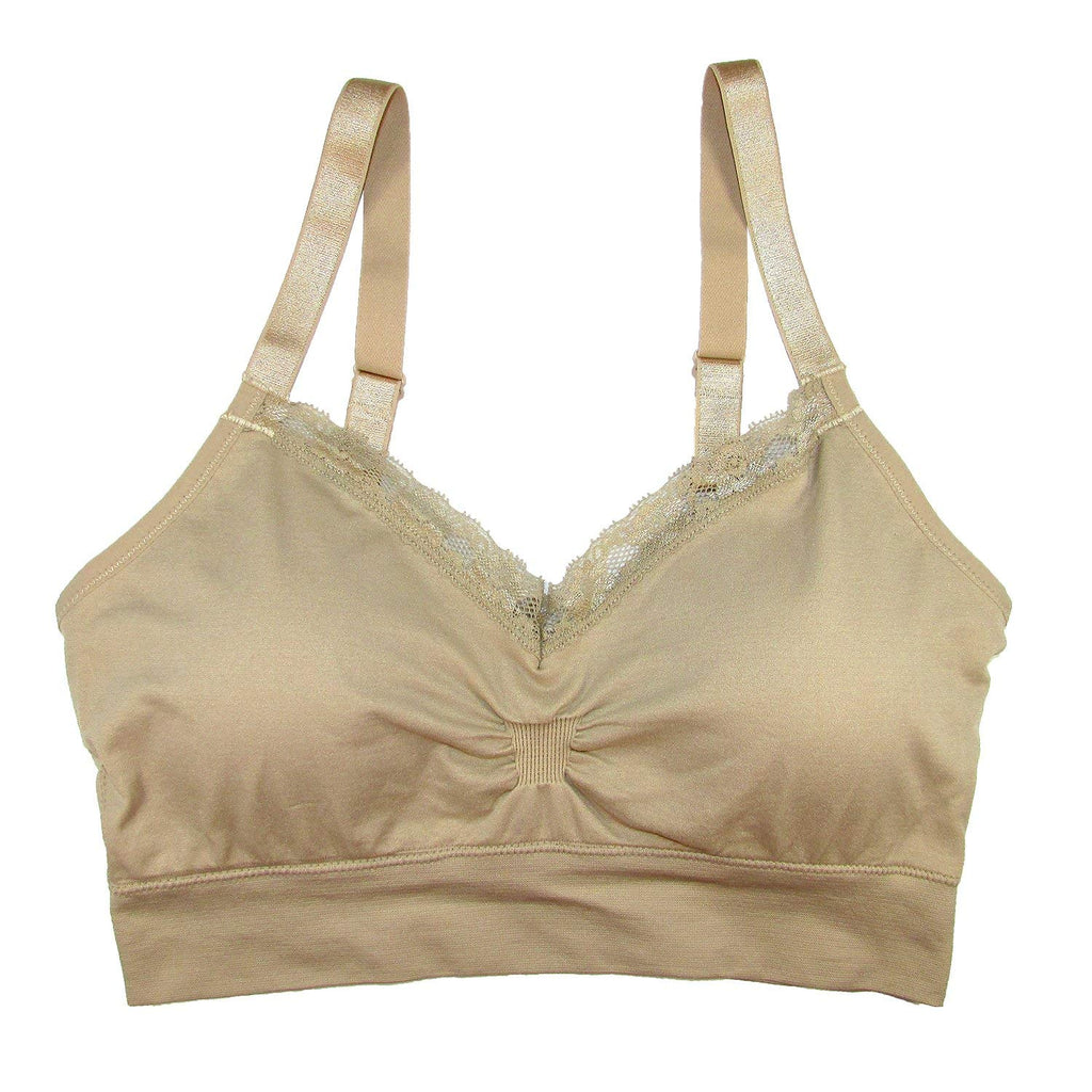 Coobie Seamless V-Neck With Lace Bra - Light Nude -