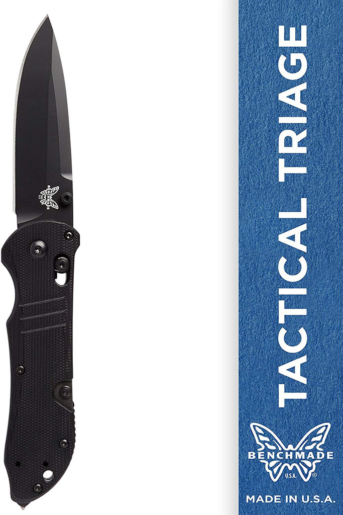 Benchmade Tactical Triage 917 Manual Folding Knife with Glass Breaker and Rescue Hook Plain Edge Black