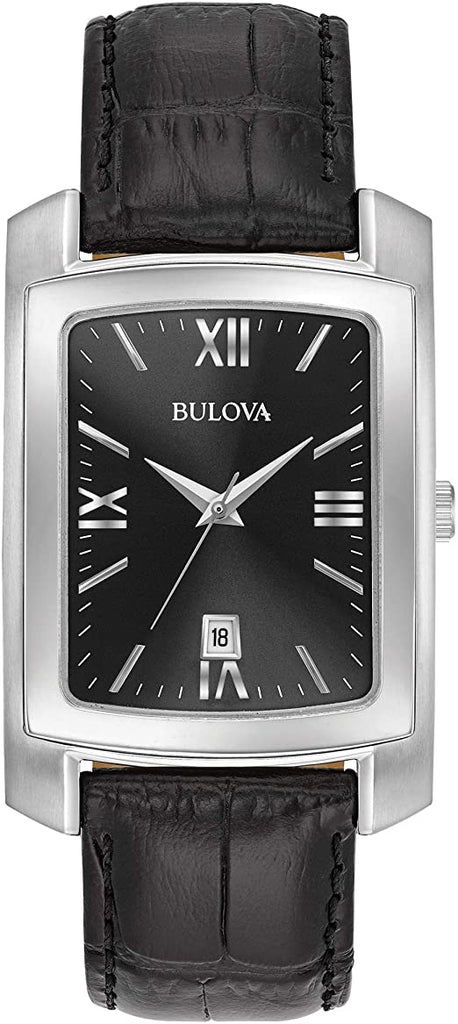Bulova Mens Stainless Steel Watch with Leather