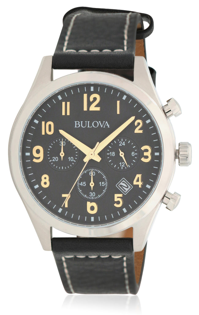 Bulova Leather Chronograph Mens Watch