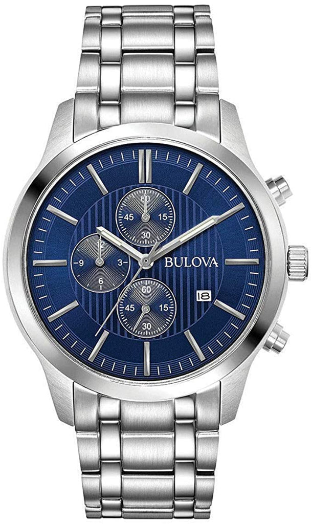 Bulova Stainless-Steel Chronograph Blue-Dial Watch