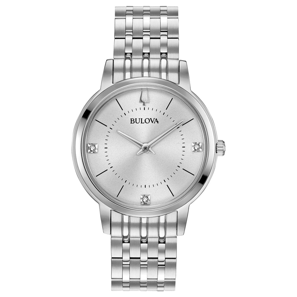 Bulova Classic Diamond Accent Stainless Steel Ladies Watch