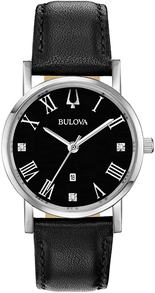 Bulova Classic Diamond Accent Leather Ladies Watch