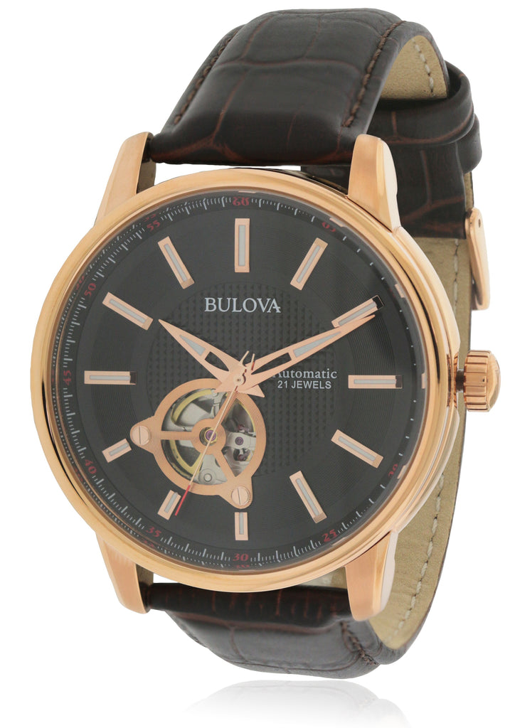 Bulova Automatic Brown Leather Mens Watch