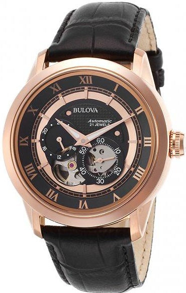 Bulova Leather Automatic Mens Watch