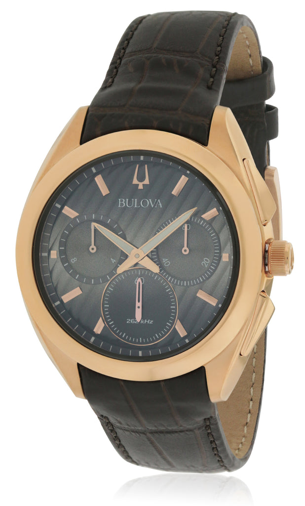 Bulova Curv Chronograph Leather Mens Watch
