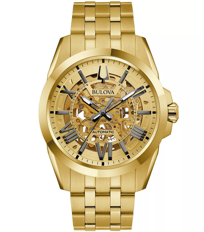 Bulova Sutton Automatic Skeleton Gold-Tone Mens Watch