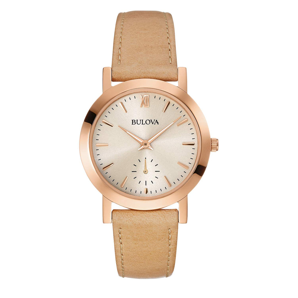 Bulova Classic Rose Gold-Tone Camel Leather Ladies Watch