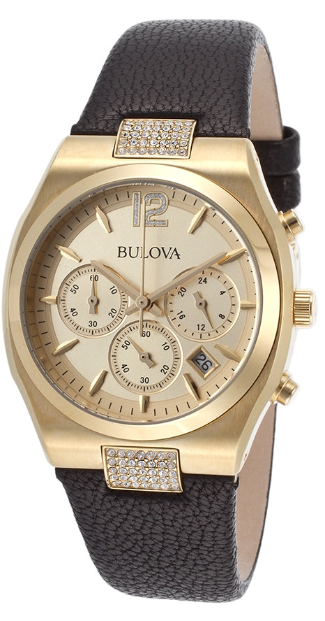 Bulova Leather Chronograph Ladies Watch