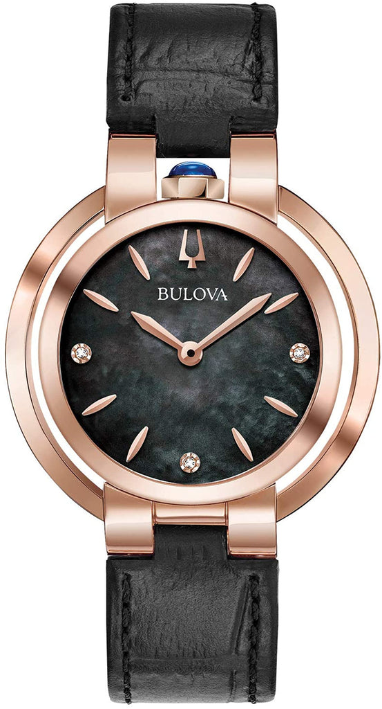 Bulova Rubaiyat Black Leather Ladies Watch