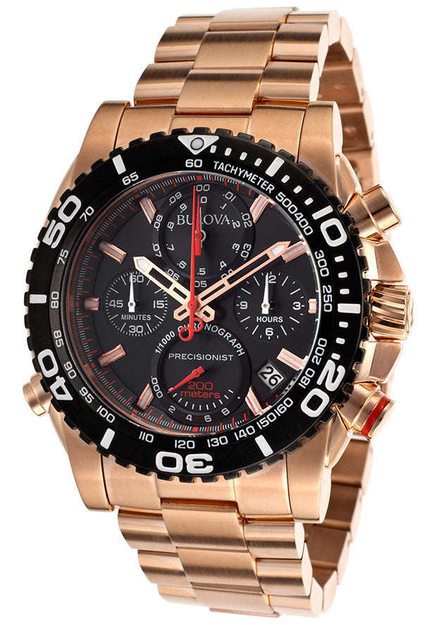 Bulova Rose Gold-Tone Chronograph Mens Watch