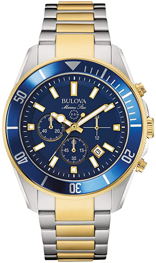 Bulova Mens Marine Star Chronograph Japanese Two Tone Watch