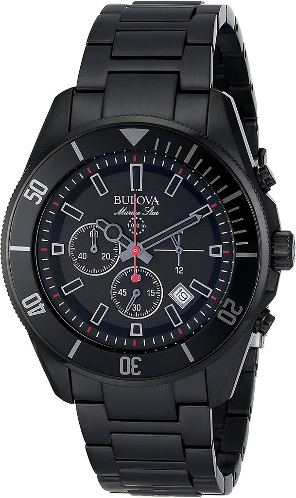 Bulova Mens Marine Star Analog Display Japanese Black Watch