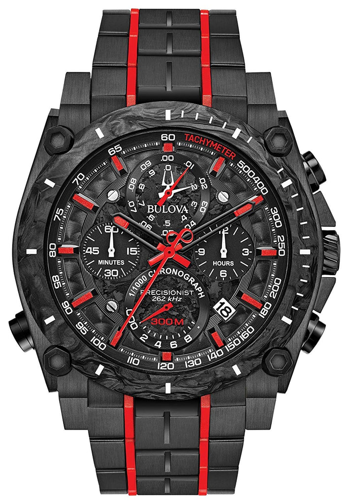 Bulova Precisionist Chronograph Black Stainless Steel Mens Watch