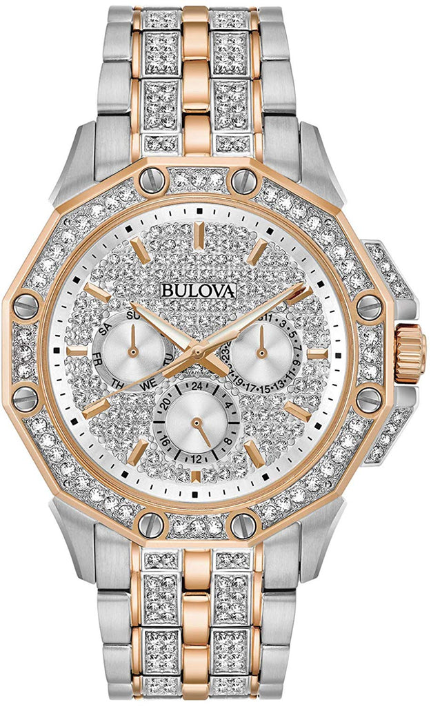 Bulova Octava Crystal Two-Tone Chronograph Mens Watch