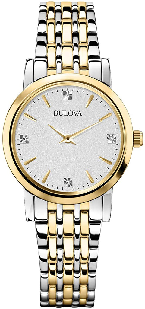 Bulova Womens Diamond Accented Silver-Tone Bracelet Watch