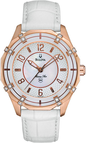 Bulova Marine Star Rose Diamond Leather Ladies Watch
