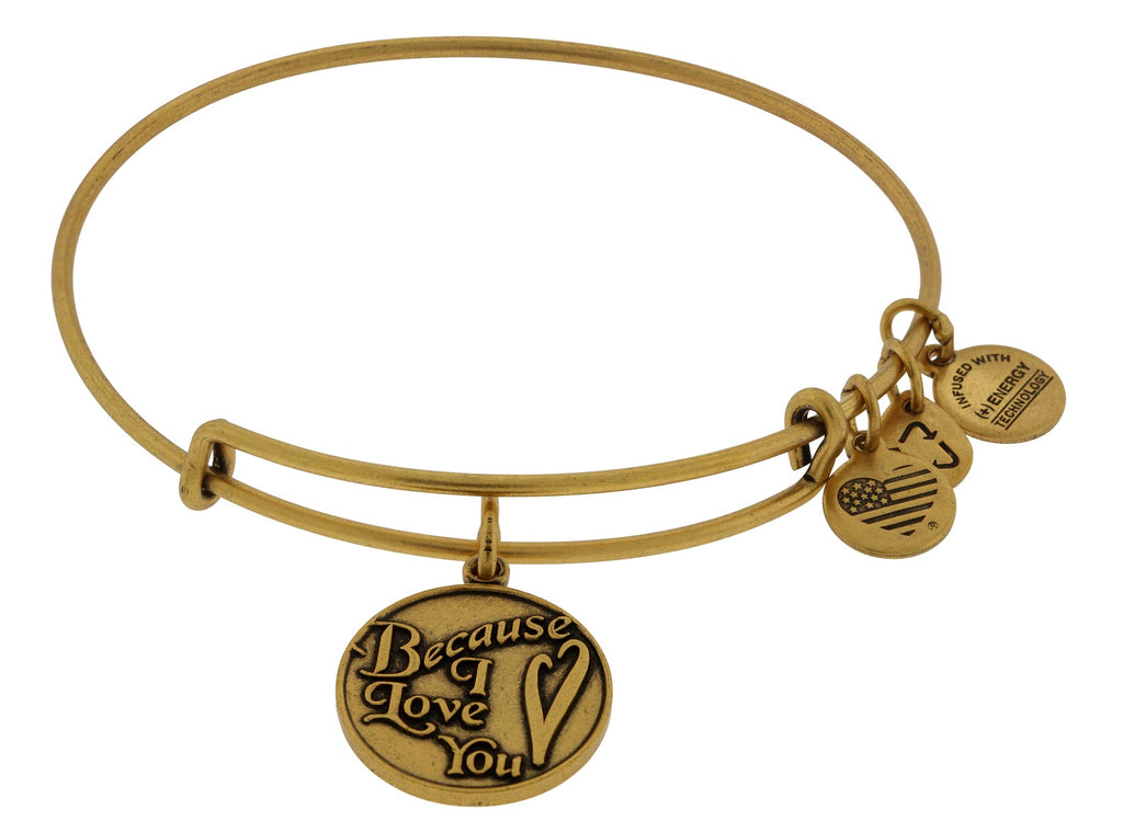Alex and Ani Because I Love You Charm Bangle Bracelet - Rafaelian Gold Finish -